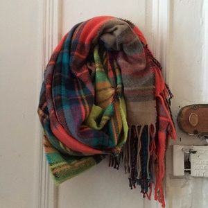 UO multi-color neon plaid flannel scarf wrap